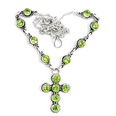 13.53cts natural green peridot 925 sterling silver cross necklace p48213