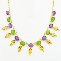 60.90cts natural green peridot amethyst 925 silver 14k gold necklace p74919