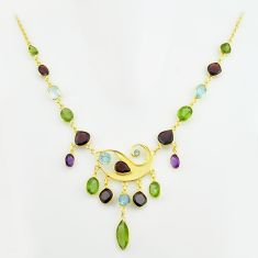 52.57cts natural green peridot amethyst topaz silver 14k gold necklace p74979
