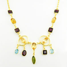 24.64cts natural green peridot garnet topaz 925 silver 14k gold necklace p75040
