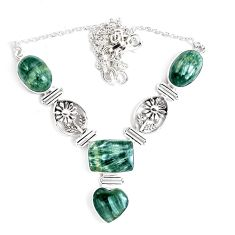 40.38cts natural green seraphinite (russian) 925 sterling silver necklace p47624