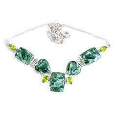 69.36cts natural green seraphinite (russian) peridot 925 silver necklace p47621