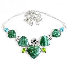 67.20cts natural green seraphinite (russian) peridot 925 silver necklace p47622