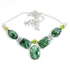62.80cts natural green seraphinite (russian) peridot 925 silver necklace p47625