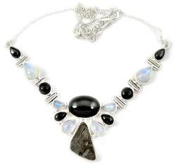 Natural grey meteorite gun metal 925 sterling silver necklace jewelry h92995