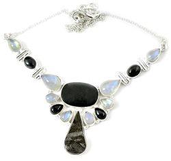 Natural grey meteorite gun metal moonstone 925 sterling silver necklace h92993