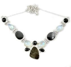 Natural grey meteorite gun metal moonstone 925 sterling silver necklace h92997