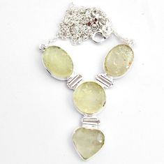 38.45cts natural libyan desert glass (gold tektite) 925 silver necklace p89017
