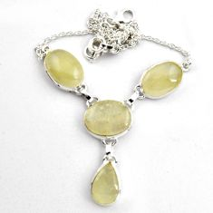 38.14cts natural libyan desert glass (gold tektite) 925 silver necklace p89019