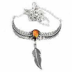 3.91cts natural multi color ammolite 925 silver dreamcatcher necklace p42121