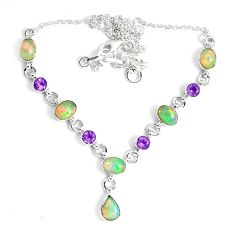 16.76cts natural multi color ethiopian opal amethyst 925 silver necklace p47365