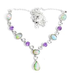 17.23cts natural multi color ethiopian opal amethyst 925 silver necklace p47369