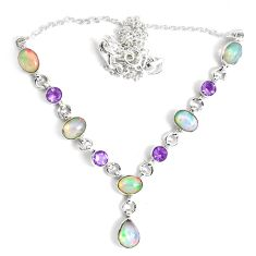 17.80cts natural multi color ethiopian opal amethyst 925 silver necklace p47370