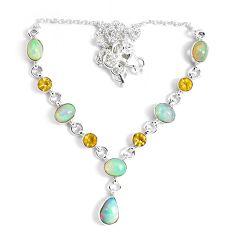 16.76cts natural multi color ethiopian opal citrine 925 silver necklace p47362