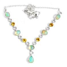 16.76cts natural multi color ethiopian opal citrine 925 silver necklace p47368