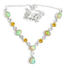 17.51cts natural multi color ethiopian opal citrine 925 silver necklace p47375
