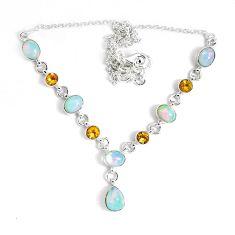 17.09cts natural multi color ethiopian opal citrine 925 silver necklace p47377