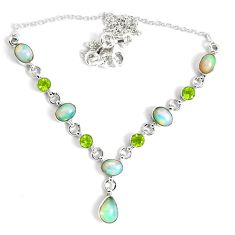 16.93cts natural multi color ethiopian opal peridot 925 silver necklace p47361