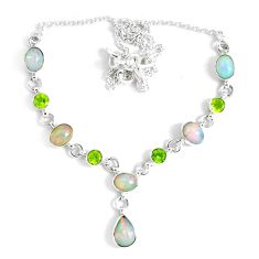 16.94cts natural multi color ethiopian opal peridot 925 silver necklace p47363