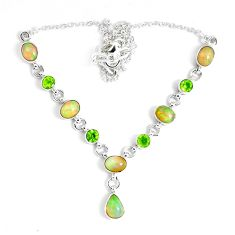 17.52cts natural multi color ethiopian opal peridot 925 silver necklace p47372
