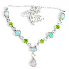17.80cts natural multi color ethiopian opal peridot 925 silver necklace p47373