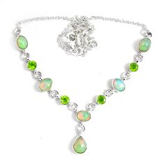 17.06cts natural multi color ethiopian opal peridot 925 silver necklace p47374