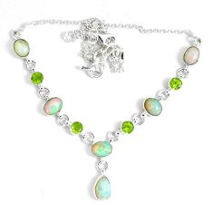 18.06cts natural multi color ethiopian opal peridot 925 silver necklace p47378
