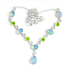 16.76cts natural multi color ethiopian opal peridot 925 silver necklace p47379
