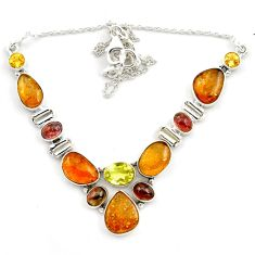 41.47cts natural multi color tourmaline citrine 925 silver necklace p76745