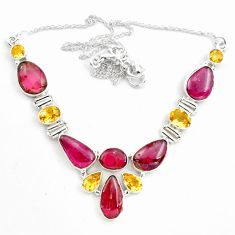 47.10cts natural multi color tourmaline citrine 925 silver necklace p76748