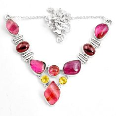 41.15cts natural multi color tourmaline citrine 925 silver necklace p76754