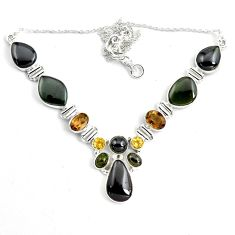54.23cts natural multi color tourmaline citrine 925 silver necklace p76759
