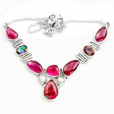 31.71cts natural multi color tourmaline rainbow topaz 925 silver necklace p76742