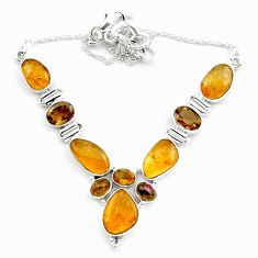 40.17cts natural multi color tourmaline smoky topaz 925 silver necklace p76741