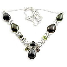 52.54cts natural multicolor tourmaline pearl 925 sterling silver necklace p76744