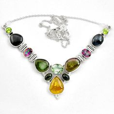 46.22cts natural multicolor tourmaline rainbow topaz 925 silver necklace p81488