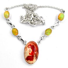 28.47cts natural orange mexican fire opal 925 silver necklace jewelry p89020