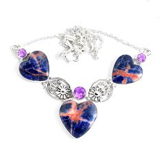 54.23cts natural orange sodalite amethyst 925 sterling silver necklace p47633