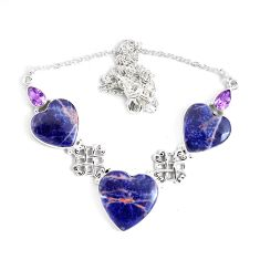 50.65cts natural orange sodalite amethyst 925 sterling silver necklace p47635