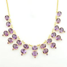 65.54cts natural purple amethyst 925 sterling silver 14k gold necklace p74901