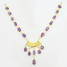 62.30cts natural purple amethyst 925 sterling silver 14k gold necklace p74921