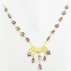 59.17cts natural purple amethyst 925 sterling silver 14k gold necklace p74922