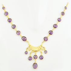 60.86cts natural purple amethyst 925 sterling silver 14k gold necklace p74923