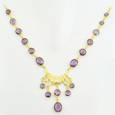 57.25cts natural purple amethyst 925 sterling silver 14k gold necklace p74925