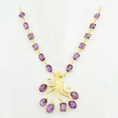 67.19cts natural purple amethyst 925 sterling silver 14k gold necklace p74946