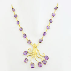 66.15cts natural purple amethyst 925 sterling silver 14k gold necklace p74949