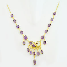 56.78cts natural purple amethyst 925 sterling silver 14k gold necklace p74970