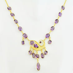 53.65cts natural purple amethyst 925 sterling silver 14k gold necklace p74972