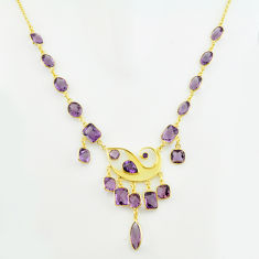 62.90cts natural purple amethyst 925 sterling silver 14k gold necklace p74973