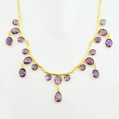 50.48cts natural purple amethyst 925 sterling silver 14k gold necklace p74981